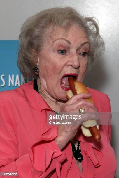 Actress Betty White unveils the 'Naked' hot dog at Pink Hot Dogs at Universal CityWalk on April 19 2010 in Universal City California