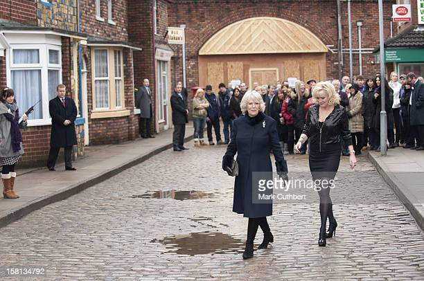 Actress Beverley Callard On The Set Of Coronation Street At Granada Studios, Manchester, With Camilla, The Duchess Of Cornwall. The Duchess'S Visit...