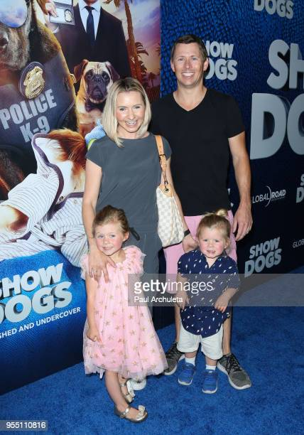 Actress Beverley Mitchell and her Family Kenzie Cameron Hutton Michael Cameron and Michael Cameron attend the premiere of Show Dogs at The TCL...