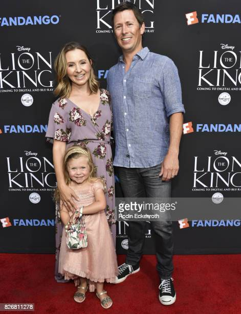 Actress Beverley Mitchell daughter Kenzie Cameron and husband Michael Cameron attend The Lion King singalong screening at The Greek Theatre on August...
