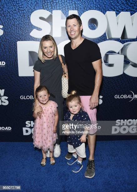 Actress Beverley Mitchell her husband Michael Cameron and their children Kenzie Cameron and Hutton Michael Cameron arrive at the premiere of Global...