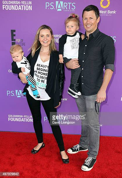Actress Beverley Mitchell husband Michael Cameron and children attend Express Yourself 2015 presented by PS ARTS at Barker Hangar on November 15 2015...