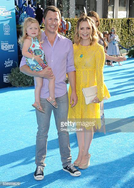 Actress Beverley Mitchell husband Michael Cameron and daughter Kenzie Cameron arrive at the World Premiere of DisneyPixar's Finding Dory at the El...