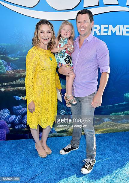 Actress Beverley Mitchell Kenzie Cameron and Michael Cameron attend The World Premiere of DisneyPixar's FINDING DORY on Wednesday June 8 2016 in...