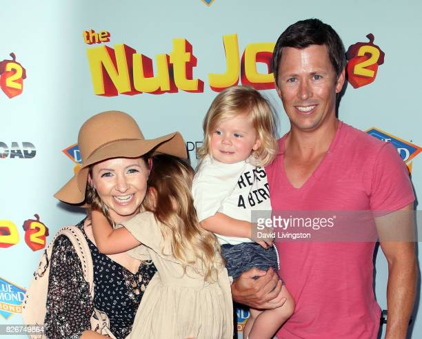 Actress Beverley Mitchelll husband Michael Cameron and children attend the premiere of Open Road Films' The Nut Job 2 Nutty by Nature at Regal...