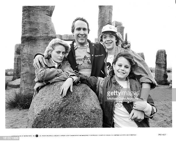Actress Beverly D'Angelo actors Chevy Chase Jason Lively and actress Dana Hill on set of the Warner Bros movie National Lampoon's European Vacation...