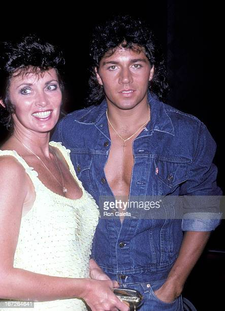 Actress Beverly Sassoon and actor Billy Hufsey attend the Celebrity Focus Magazine Launch Party on August 7 1986 at the Bel Age Hotel in West...
