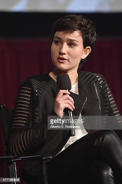 Actress Bex TaylorKlaus speaks onstage at the MTV and Dimension TV premiere of Scream at the Los Angeles Film Festival on June 14 2015 in Los Angeles...