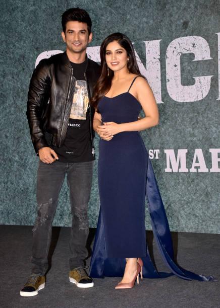 Actress Bhumi Pednekar and Sushant Singh Rajput are seen during the trailer launch of the film 'Sonchiriya' at hotel JW Mariott Juhu in Mumbai