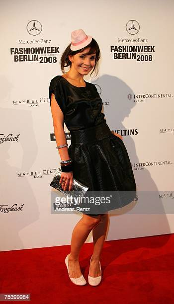 Actress Bianca Hein attends the Anglomania / Westwood fashion show during the MercedesBenz Fashion Week Berlin Spring/Summer 2008 held at Brandenburg...