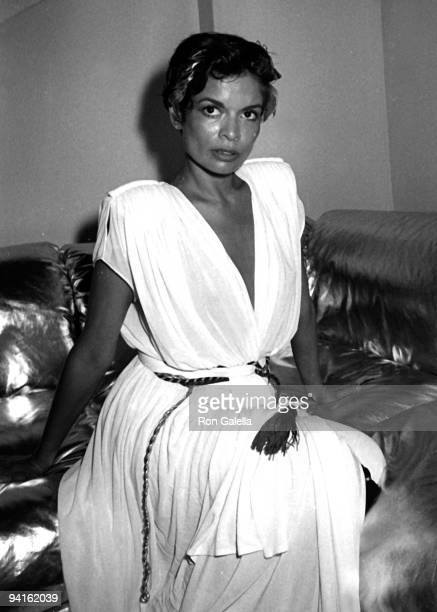 Actress Bianca Jagger wearing Halston attends her birthday party on July 10 1980 at Bond's in New York City