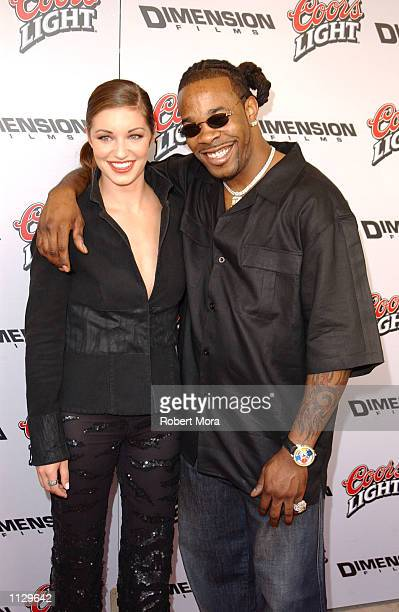Actress Bianca Kajlich and rapper Busta Rhymes attend the premiere of Halloween Resurrection at the Mann Festival Theater on July 1 2002 in Westwood...
