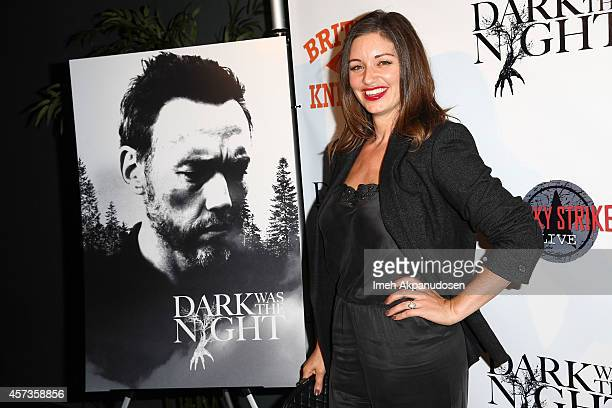 Actress Bianca Kajlich attends the LA premiere party for 'Dark Was The Night' hosted by British Knights at Lucky Strike Bowling Alley on October 16...