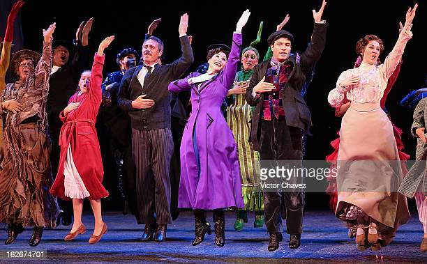 Actress Bianca Marroquin and actors perform onstage the theater play Mary Poppins at Telmex theaters on February 21 2013 in Mexico City Mexico