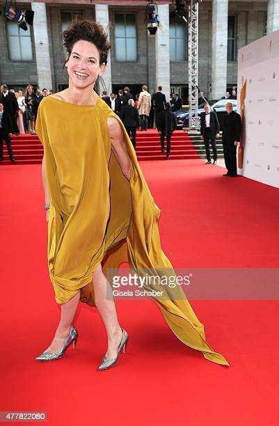 Actress Bibiana Beglau arrives for the German Film Award 2015 Lola at Messe Berlin on June 19, 2015 in Berlin, Germany.
