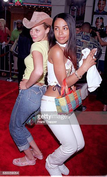 Actress Bijou Phillips and Aaliyah at the premier of Me Myself Irene in LA Singer/actress Aaliyah died in a plane crash in the Bahamas on Saturday...
