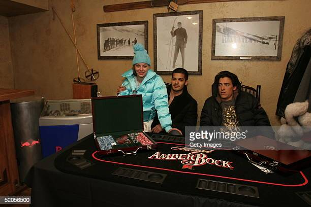 Actress Bijou Phillips and actor Andrew Keegan visit the Michelob Amber Bock World Poker Tour display at the Gibson Gift Lounge during the 2005...