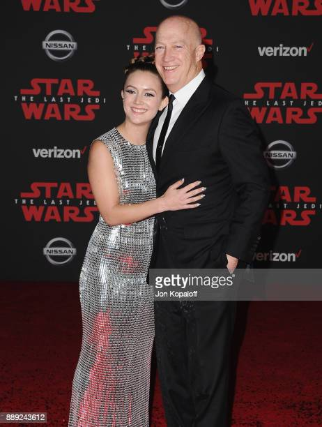 Actress Billie Lourd and dad Bryan Lourd attend the Los Angeles Premiere Star Wars The Last Jedi at The Shrine Auditorium on December 9 2017 in Los...