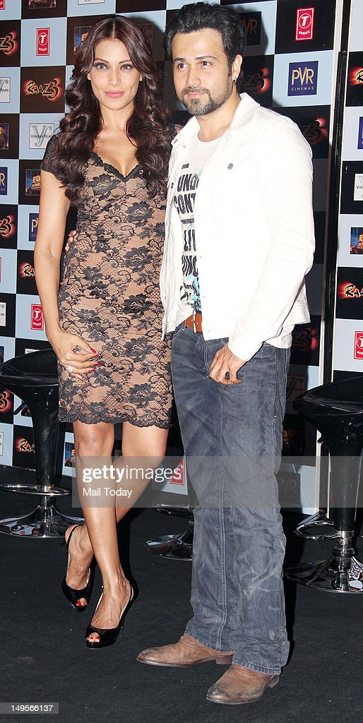Actress Bipasha Basu and actor Emraan Hashmi during the press meet of the movie `Raaz 3` at PVR Cinemas in Mumbai on July 30 2012