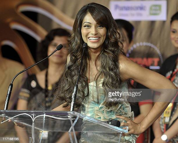 Actress Bipasha Basu at the official launch of the 2011 IIFA press conference held at the Royal York Hotel on June 23 2011 in Toronto Canada