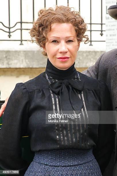 Actress Birgit Minichmayr as Bertha von Suttner poses during the 'Madame Nobel' set visit on May 26 2014 in Vienna Austria