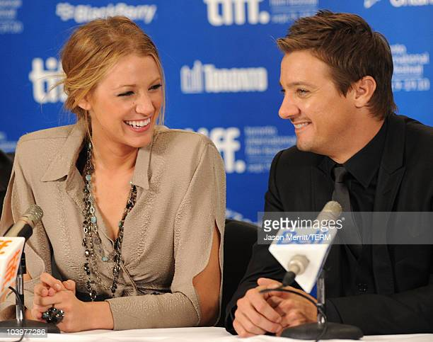 Actress Blake Lively and actor Jeremy Renner speak at The Town press conference during the 2010 Toronto International Film Festival at the Hyatt...