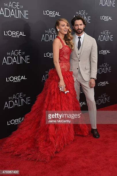 Actress Blake Lively and actor Michiel Huisman attend The Age of Adaline premiere at AMC Loews Lincoln Square 13 theater on April 19 2015 in New York...