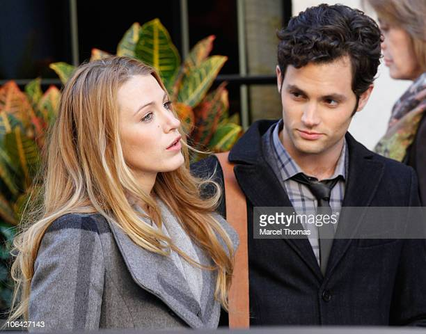 Actress Blake Lively and actor Penn Badgley are seen on the set of the TV show Gossip Girl on location on the streets of Manhattan on November 1 2010...