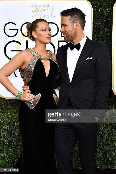 Actress Blake Lively and actor Ryan Reynolds attend the 74th Annual Golden Globe Awards at The Beverly Hilton Hotel on January 8 2017 in Beverly...