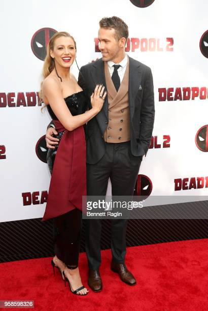 """Actress Blake Lively and actor Ryan Reynolds pose for a picture during the """"Deadpool 2"""" New York Screening at AMC Loews Lincoln Square on May 14,..."""