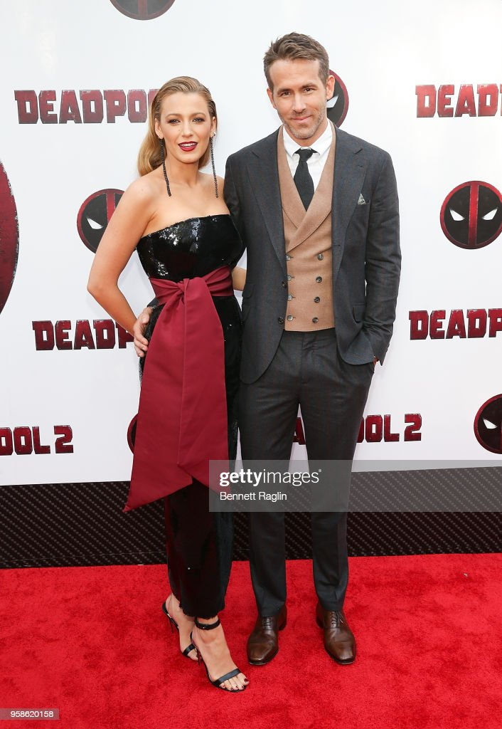Actress Blake Lively and actor Ryan Reynolds pose for a picture during the 'Deadpool 2' New York Screening at AMC Loews Lincoln Square on May 14, 2018 in New York City.