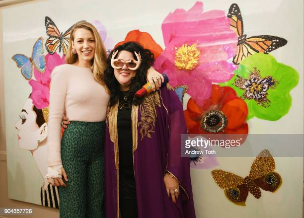 Actress Blake Lively and artist Ashley Longshore attend Ashley Longshore and Bergdorf Goodman partner and celebrate the launch of The Pop Artist's...