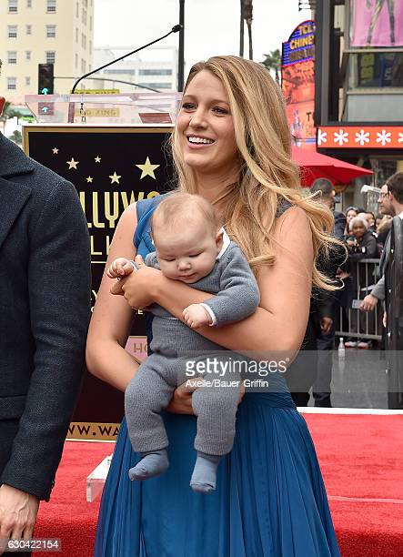 Actress Blake Lively and daughter Ines Reynolds attend the ceremony honoring Ryan Reynolds with a Star on the Hollywood Walk of Fame on December 15...