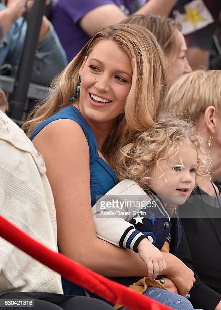 Actress Blake Lively and daughter James Reynolds attend the ceremony honoring Ryan Reynolds with a Star on the Hollywood Walk of Fame on December 15...