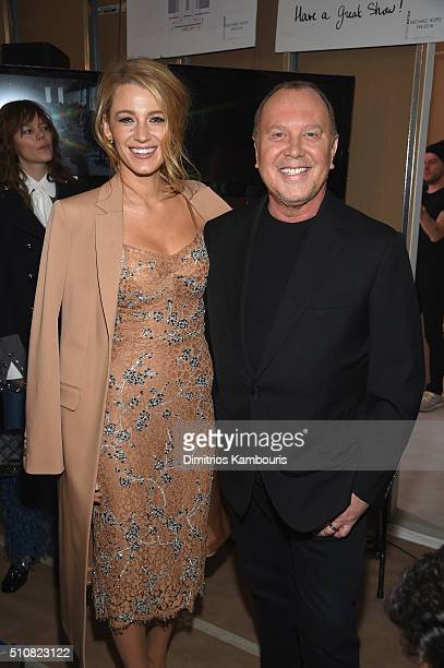 Actress Blake Lively and designer Michael Kors pose backstage at the Michael Kors Fall 2016 Runway Show during New York Fashion Week: The Shows at...