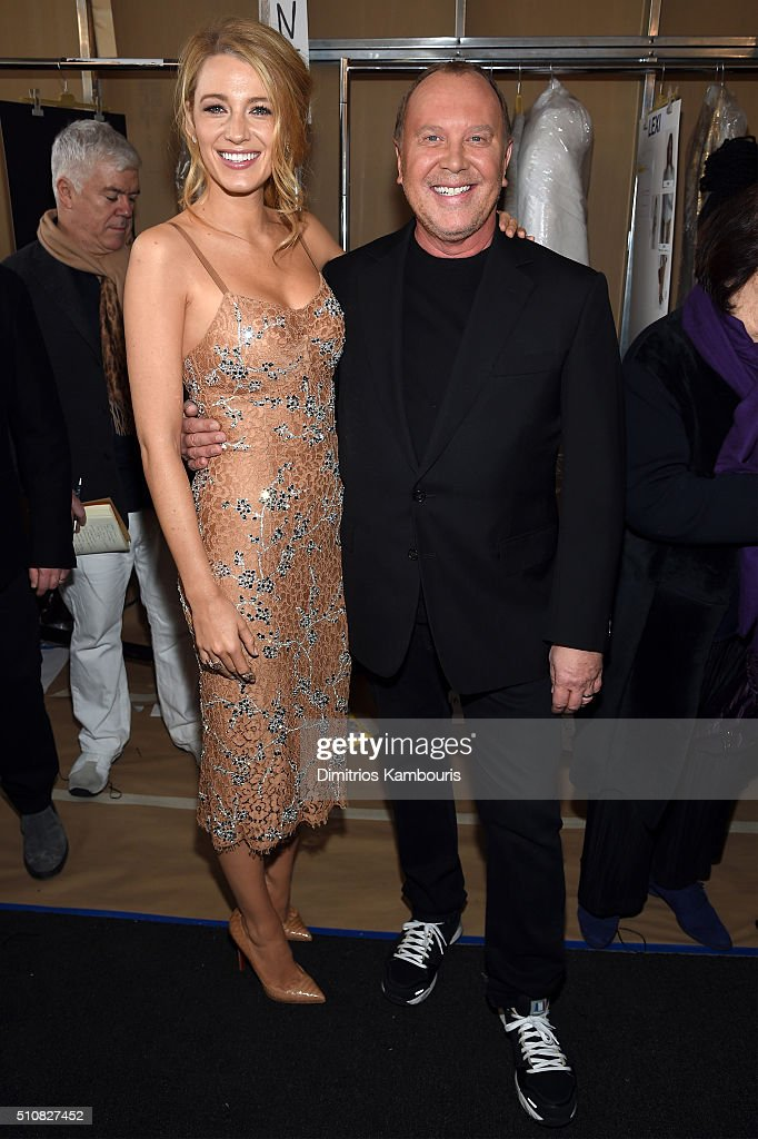 Actress Blake Lively and designer Michael Kors pose backstage at the Michael Kors Fall 2016 Runway Show during New York Fashion Week: The Shows at Spring Studios on February 17, 2016 in New York City.