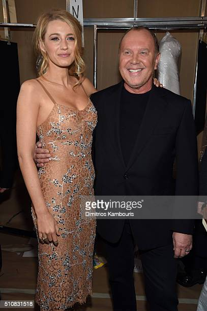 Actress Blake Lively and designer Michael Kors pose backstage at the Michael Kors Fall 2016 Runway Show during New York Fashion Week The Shows at...