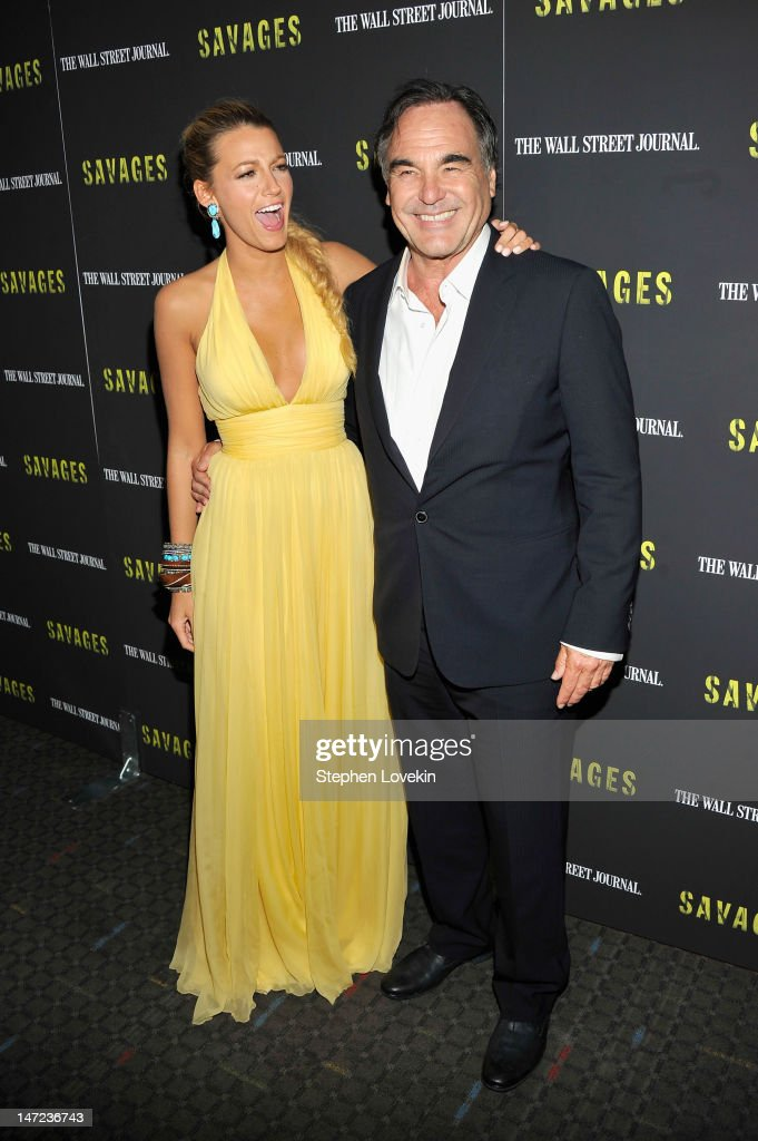Actress Blake Lively and Director Oliver Stone attend the 'Savages' New York premiere at SVA Theater on June 27, 2012 in New York City.