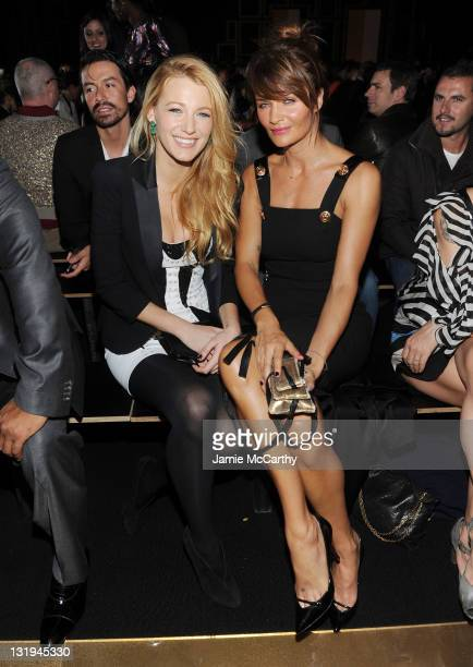 Actress Blake Lively and model Helena Christensen attend the Versace for HM Fashion event at the HM on the Hudson on November 8 2011 in New York City