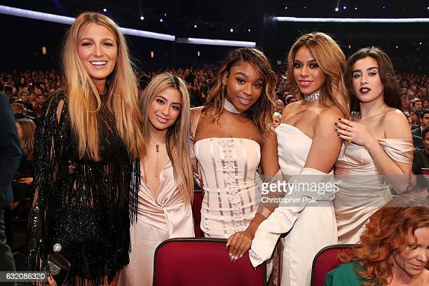 Actress Blake Lively and recording artists Ally Brooke Normani Kordei Dinah Jane and Lauren Jauregui of music group Fifth Harmony attend the People's...