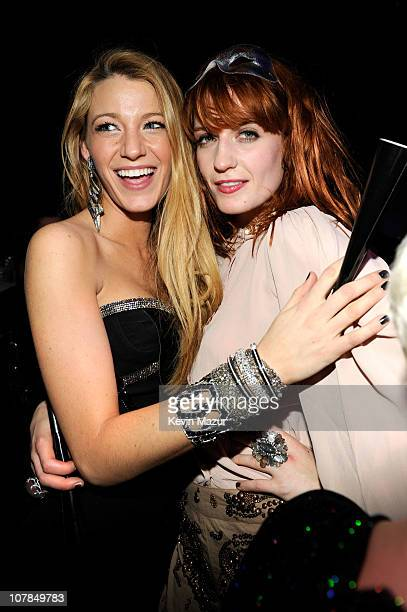 Actress Blake Lively and singer Florence Welch of Florence and the Machine attend The Cosmopolitan Grand Opening and New Year's Eve Celebration with...