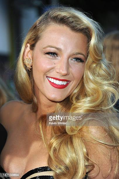 """Actress Blake Lively arrives at Premiere of Universal Pictures' """"Savages"""" at Westwood Village on June 25, 2012 in Los Angeles, California."""