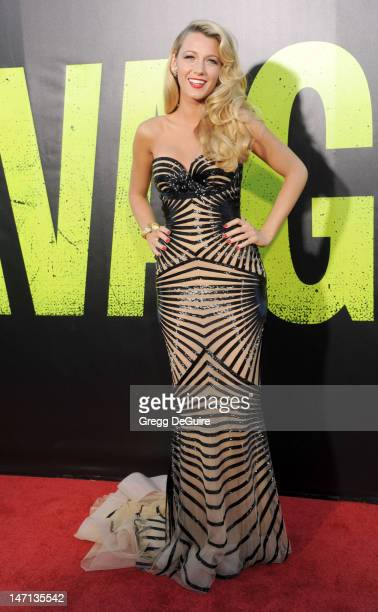 Actress Blake Lively arrives at the Los Angeles premiere of Savages at Mann Village Theatre on June 25 2012 in Westwood California