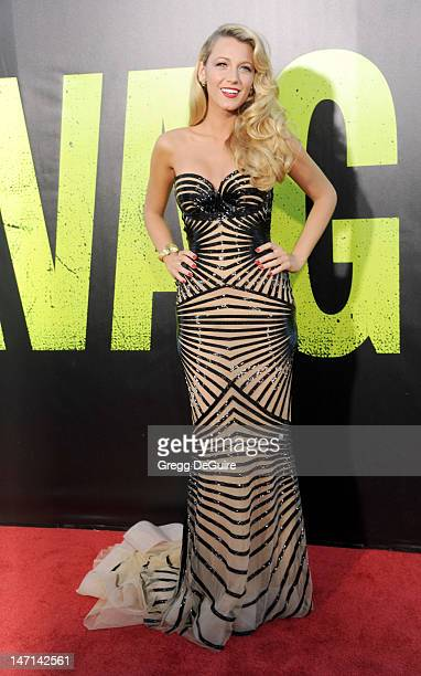 """Actress Blake Lively arrives at the Los Angeles premiere of """"Savages"""" at Mann Village Theatre on June 25, 2012 in Westwood, California."""