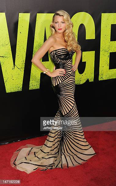 Actress Blake Lively arrives at the Los Angeles premiere of 'Savages' at Mann Village Theatre on June 25, 2012 in Westwood, California.