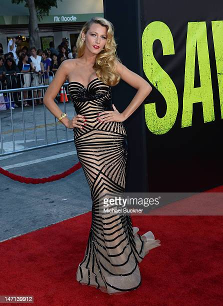 """Actress Blake Lively arrives at the premiere of Universal Pictures' """"Savages"""" at Westwood Village on June 25, 2012 in Los Angeles, California."""