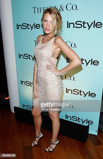 Actress Blake Lively attends a cocktail party honoring two greats at their game hosted by InStyle and Tiffany & Co. At The Cooper Square Hotel -...