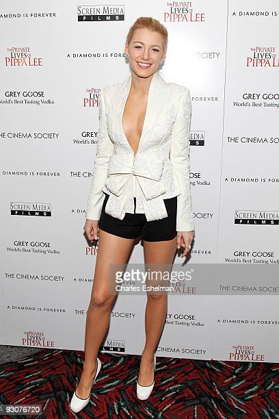 Actress Blake Lively attends a screening of The Private Lives Of Pippa Lee hosted by the Cinema Society and A Diamond Is Forever at the AMC Loews...