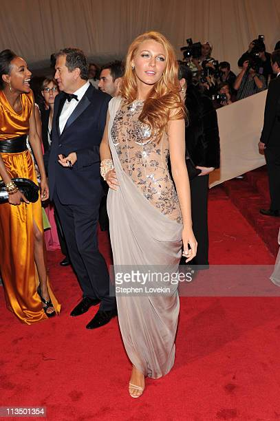 Actress Blake Lively attends the Alexander McQueen Savage Beauty Costume Institute Gala at The Metropolitan Museum of Art on May 2 2011 in New York...