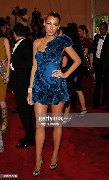 Actress Blake Lively attends the Costume Institute Gala Benefit to celebrate the opening of the American Woman Fashioning a National Identity...